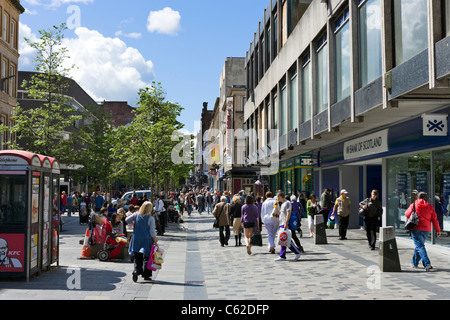Shops on Sauchiehall Street in the city centre, Glasgow, Scotland, UK - Stock Photo