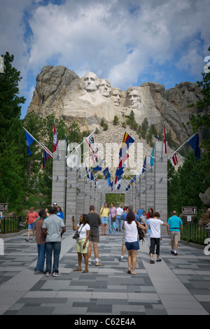 Entrance to  four American presidents carved in Mount Rushmore in Black Hills South Dakota USA on a sunny summer - Stock Photo