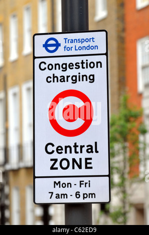 Congestion Charging sign, London, Britain, UK, Congestion Charge sign - Stock Photo