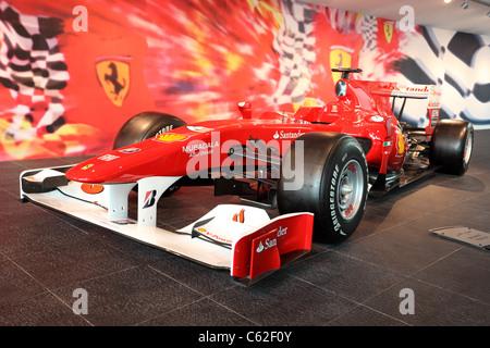 Formula One Racing Car in Ferrari World Theme Park in Abu Dhabi, United Arab Emirates - Stock Photo