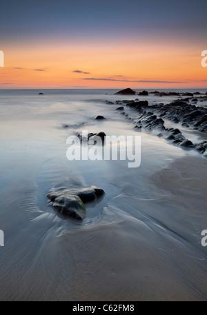 Sandymouth beach at Dusk, Cornwall. - Stock Photo