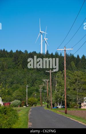 Wind turbines (windmills) near Grayland, Washington State, USA. - Stock Photo