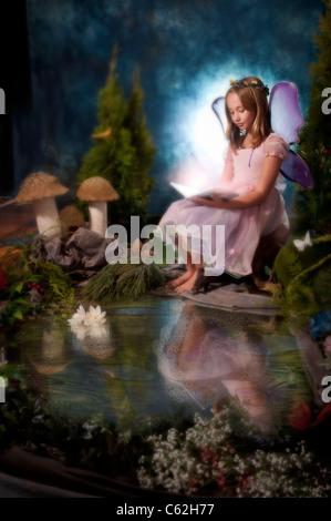 little girl dressed as fairy - Stock Photo