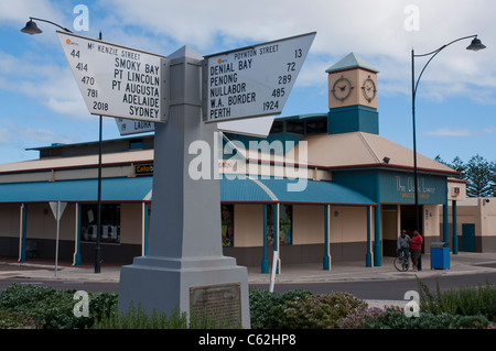 Road sign Ceduna South Australia showing distances from Eucla in South Australia at the halfway point between Sydney - Stock Photo