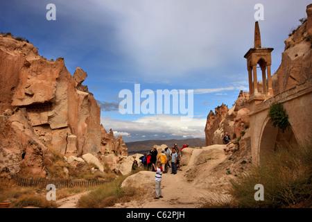 One of the 'twin' valleys in Zelve, a great monastic complex, between Goreme and Avanos, Nevsehir, Cappadocia, Turkey - Stock Photo