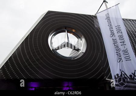 Mercedes-Benz logo at event 'Sternstunden - 125 years Mercedes-Benz' on August 14, 2011 in Stuttgart, Germany - Stock Photo