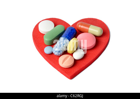 Heart and Pills - Stock Photo