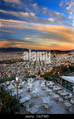 Partial view of Athens city from Lycabettus hill around sunset. Greece - Stock Photo