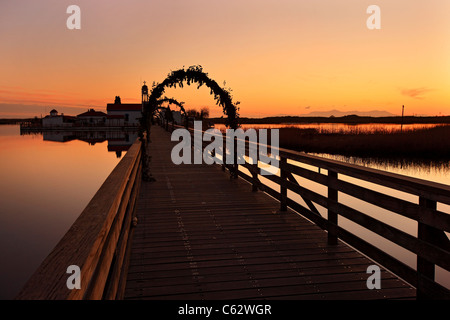 Porto Lagos, Greece. The bridge that connects St. Nicholas monastery with the mainland of Thrace - Stock Photo