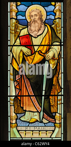 Saint Paul, detail of South aisle window. Church of Saint Lawrence. Kirkland, Cumbria, England, United Kingdom, - Stock Photo
