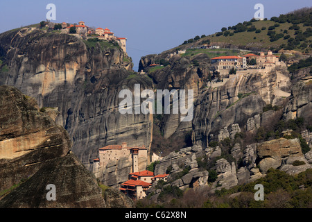 Panoramic view of the 'heart of the monastic complex of Meteora, where you can see 3 of the 6 still active monasteries. - Stock Photo