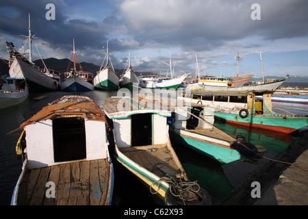 Wooden fishing fleet at the port. Sumbawa, West Nusa Tenggara, Indonesia, Southeast Asia, Asia - Stock Photo