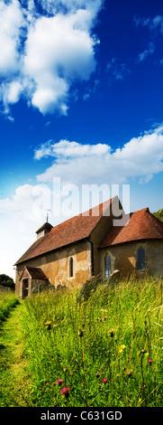rural church summertime - Stock Photo