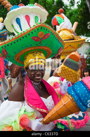 Colorfully costumed Curacao participant  in St. Maarten's Grand Parade during the 2011 Carnival in Philipsburg - Stock Photo