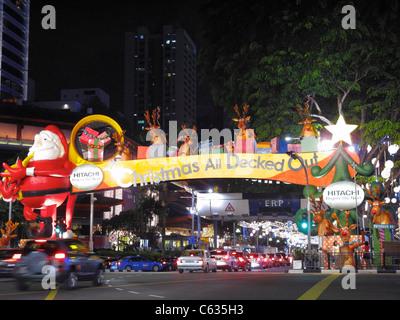 Festive Christmas decoration, Downtown Singapore SIN - Stock Photo