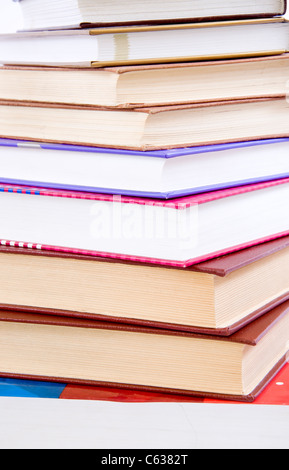 A lot of books, close-up on tower made of books - Stock Photo