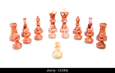 Alone against everyone, chess powl against opposite army on white background - Stock Photo