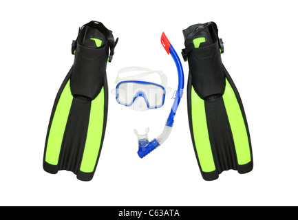 Diving equipment--Blue diving goggles,snorkel and flippers on white background,clipping path included. - Stock Photo