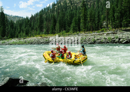 Rubber paddle boats, gear boat, dory and inflatable kayaks with the O.A.R.S. group at Big Mallard on Main Salmon - Stock Photo