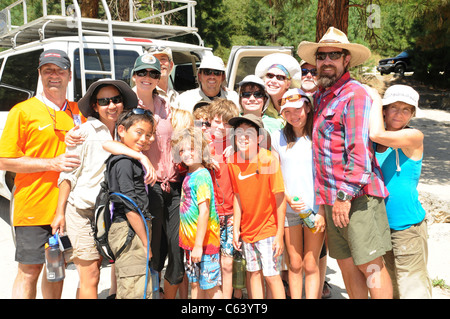 Group photo of families after week long river rafting trip on the Main Salmon River in Idaho with O.A.R.S. - Stock Photo