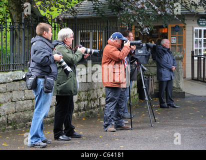 Paparazzi waiting for the Queen at Balmoral. Royal Deeside, Aberdeenshire, Scotland, United Kingdom, Europe. - Stock Photo