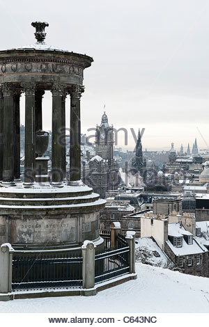 A view of Edinburgh from the top of Calton hill, a well known spot with many of Edinburgh's most famous monuments - Stock Photo