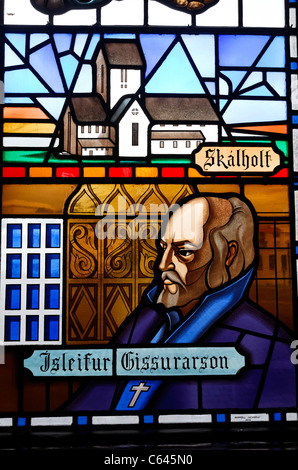 Stained glass window at the Akureyrarkirkja church, Akureyri, Iceland - Stock Photo