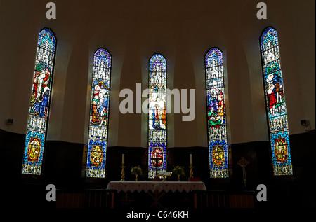 Stained glass windows at the Akureyrarkirkja church, Akureyri, Iceland - Stock Photo