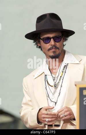 Johnny Depp at the press conference for Handprint & Footprint Ceremony for Johnny Depp, Grauman's Chinese Theatre, - Stock Photo