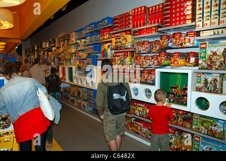 The first Lego Store in Denmark on the pedestrian and shopping street Strøget in Copenhagen - Stock Photo