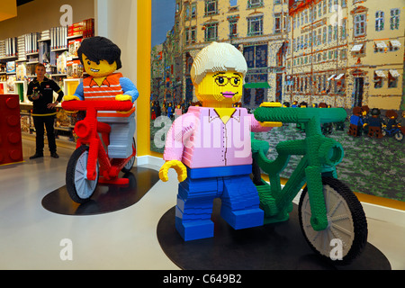Large Lego figures in the Lego Store on the shopping and pedestrian street Strøget in Copenhagen, Denmark - Stock Photo