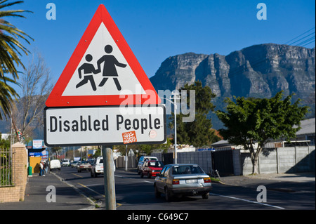 Traffic sign Disabled People Cape Town South Africa - Stock Photo