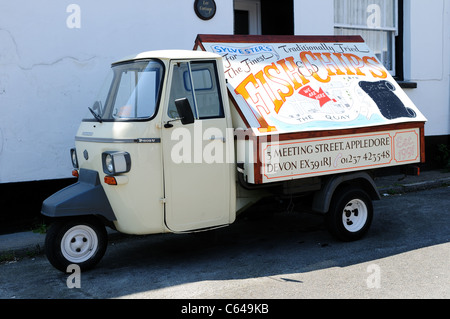 3 Wheeler Vespa Van with advert for Local Fish and Chip Shop Appledore Devon. - Stock Photo