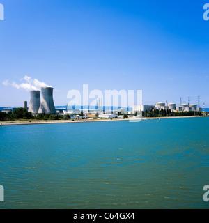 Tricastin nuclear power plant Cruas-Meysse and Donzère-Mondragon canal, Pierrelatte, Drôme, Provence, France, Europe - Stock Photo