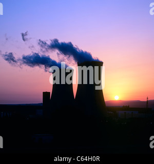 Cooling towers of Tricastin nuclear power plant Cruas-Meysse, sunset, Pierrelatte, Drôme, Provence, France, Europe - Stock Photo