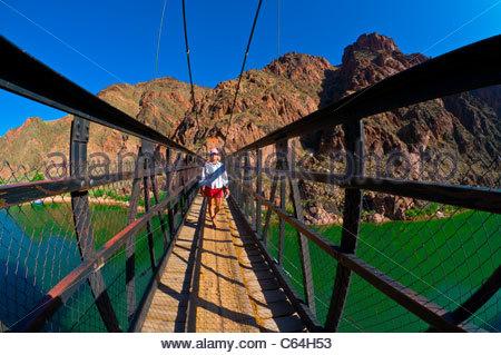 Kaibab Suspension Bridge, Whitewater rafting trip, Colorado RIver, Grand Canyon National Park, Arizona USA - Stock Photo