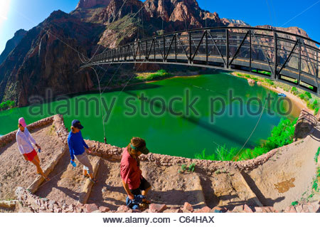 Kaibab Suspension Bridge, Whitewater rafting trip on the Colorado River in Grand Canyon, Grand Canyon National Park, - Stock Photo