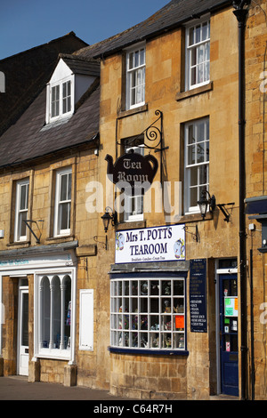 Mrs T. Potts tearoom at Moreton In Marsh in the Cotswolds in July - Stock Photo