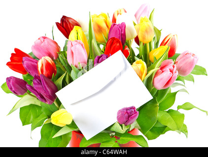 colorful bouquet of fresh tulips with white card - Stock Photo