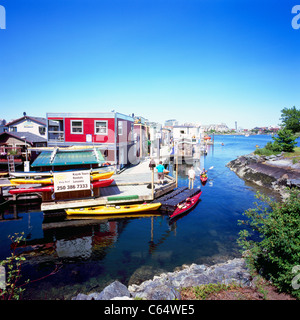 Fisherman's Wharf, Victoria, BC, British Columbia, Canada - Floating Houses in Float Home Village, in Middle Harbour - Stock Photo