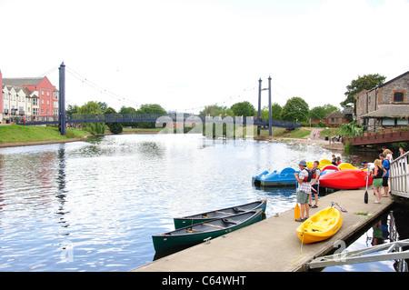 Floating wharf and kayaks, Exeter Historic Quayside, Exeter, Devon, England, United Kingdom - Stock Photo