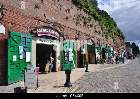 Antique shops underneath arches, Exeter Historic Quayside, Exeter, Devon, England, United Kingdom - Stock Photo