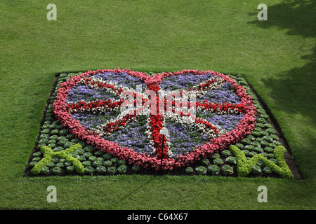 Floral display in The Parade Gardens Bath, England to celebrate the wedding of Prince William and Kate - Stock Photo