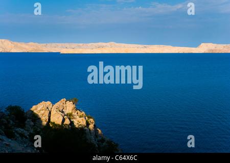 Adriatic sea, Croatia, Pag island in background - Stock Photo