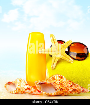 Summertime holidays background, beach objects on the sand, fun of travel concept - Stock Photo