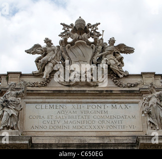 Clemens Panorama in Rome, Italy showing ornate rock carvings on the lentil, top.  The sculptures include angels - Stock Photo