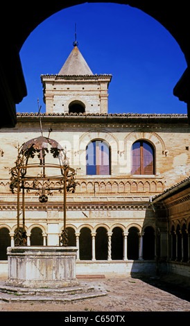 Foligno.The cloister of the abbey of Sassovivo. - Stock Photo
