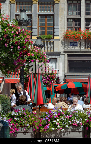 Brussels, Belgium. Grand Place. Café and waiter - Stock Photo