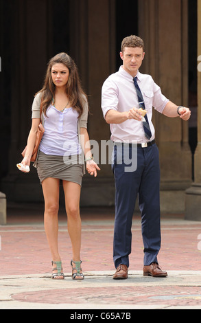 Mila Kunis, Justin Timberlake on location for FRIENDS WITH BENEFITS Film Shoot, Central Park, New York, NY July - Stock Photo