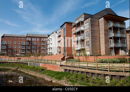 Smart looking new apartments in a development in England. - Stock Photo